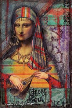 Gypsy Mona by Constance Taylor Tachisme, Mixed Media Collage, Collage Art, Pop Art, La Madone, 4x6 Postcard, Mona Lisa Parody, Mona Lisa Smile, Collages