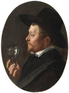 Attribué à Salomon de Bray  (597-1664), Un Homme de profil tenant un roemer. Cuivre, 13,6x10 cm | Fondation Custodia