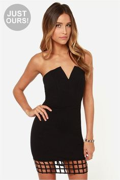 LuLu*s Exclusive! Talk about an easy A, the Grid Point Average Strapless Black Dress deserves onl...