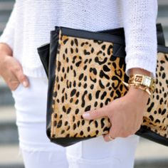 leopard flat clutch purse
