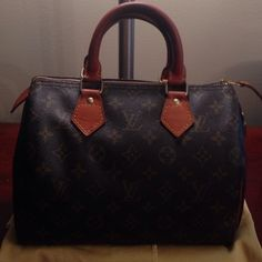 Vintage (1982) Louis Vuitton Speedy 25 Excellent condition, especially for such a vintage bag! Clean inside and out.  No rips or tears and all leather is in tact and in good condition. I have conditioned leather and cared for this bag and it shows! Lock but no key. Dust bag not included. Has spot on leather as shown in pic 4. (I will be attempting to get the stain out) Great condition for a 34 year old purse! No trades! Louis Vuitton Bags
