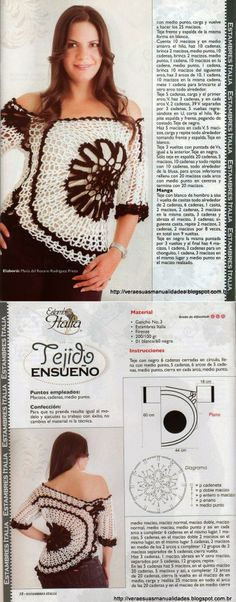 BLUSA ANA MARIA BRAGA-COM RECEITA E GRÁFICO, crochet shirt with offset large round motif on side