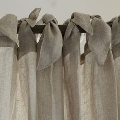 diy curtains Dress your windows in soft neutral color and natural texture with our Linen Sheer Panel. Chic and beautifully priced, it's sewn of linen for a full, flowing drape and ha Tie Top Curtains, Closet Curtains, Linen Curtains, Curtains With Blinds, Window Curtains, Valances, Room Window, Room Closet, Decorative Curtains