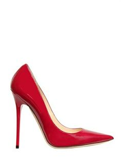 Jimmy Choo Red Anouk Patent Pointed Pumps