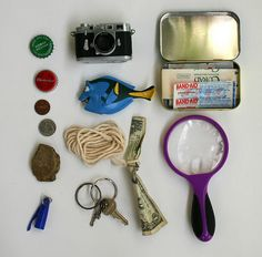 """Every spy needs supplies for surveillance, trapping bad guys and getting out of sticky situations, so we looked around the house for items we could put together into a little spy kit. This is what we came up with:"