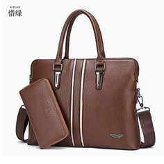 59.40$  Watch here - http://alipjx.worldwells.pw/go.php?t=32789825208 - XIYUAN BRAND Men's Briefcases Leather Business Solid Zipper Classic Fashion Handbag Laptop Briefcase Office Messenger Bag brown