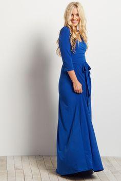 Royal-Blue-Draped-3/4-Sleeve-Maxi-Dress