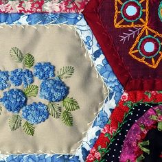 Bee Quilt detail.  Embroidered and bound pieces.