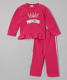 Hot Pink 'Princess' Sweatshirt & Pants - Infant & Toddler by Real Love #zulily #zulilyfinds