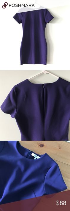 """💜LIKELY💜 Short Sleeve Bodycon Mini Dress Stunning in its simplicity, this elegant sheath dress from LIKELY is tailored to perfection, with a touch of stretch to skim the silhouette for a beautiful, bodycon fit.  Polyester/rayon/spandex Dry clean Imported Fits small, order normal size or one size up Round neck, short sleeves, bodycon silhouette Concealed back zip with hook-and-eye closure Approx. 32"""" from back of neck to hem, based on a size 2 Bloomingdale's Dresses Mini"""