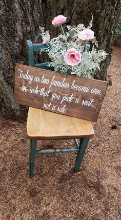 Two Families Become One – Seating Sign – Wedding Decor – Pick a Seat Not a Side – Wedding Sign – Seating Sign – Rustic Wedding Decor – Hochzeit Dekoration Rustic Wedding Decorations, Rustic Wedding Signs, Chic Wedding, Fall Wedding, Our Wedding, Dream Wedding, Decor Wedding, Wedding Ideas, Wedding Seating