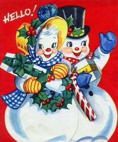 Other Collectible Vintage Greeting Cards Christmas Couple, Old Christmas, Old Fashioned Christmas, Retro Christmas, Christmas Snowman, Christmas Greetings, Christmas Crafts, Christmas Decorations, Xmas
