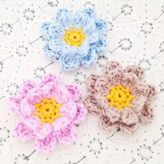 Crocheted double flowers  Set of 3 2.5 inch by annemariesbreiblog