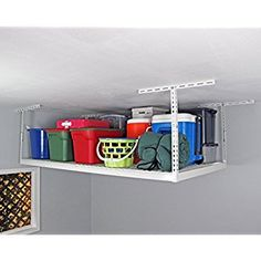 "Amazon.com: Fleximounts 4x8 Overhead Garage Rack with Add-on Hooks Set Heavy Duty Height Adjustable Ceiling Racks (22''-40"" Ceiling Dropdown), White: Home & Kitchen"