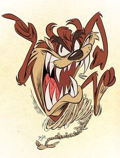 Taz by Themrock on DeviantArt Looney Tunes Characters, Classic Cartoon Characters, Looney Tunes Cartoons, Classic Cartoons, Looney Tunes Funny, Dope Cartoons, Dope Cartoon Art, Cartoon Tv, Vintage Cartoon