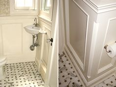 Small powder room with corner sink and vintage style tile floor.