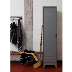 This industrial wardrobe would be suitable for any bedroom. It has 3 shelves providing plenty of room for your clothes. Other sizes also available in the same range. Industrial Lockers, Industrial Style, Tall Cabinet Storage, Locker Storage, Ladder Decor, Shelves, Doors, Grey, Furniture