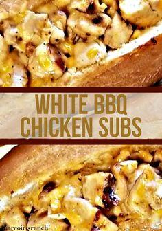 Best Bbq Chicken, Chicken Subs, Sauce For Chicken, Chicken Recipes, Easy Dinner Recipes, Dinner Ideas, Bbq Sauce Ingredients, White Bbq Sauce, Sandwich Recipes