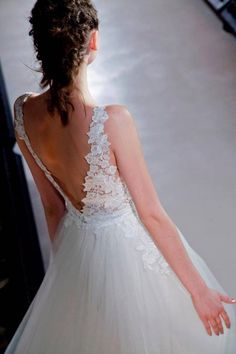 Lazaro | Hong Kong | Alluring V-back princess wedding dress with lace embroidered details
