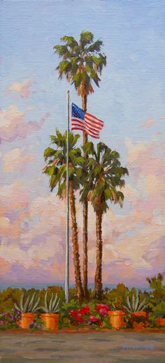 "The American flag waving proudly over the beach city of Cardiff by the Sea, California. 7.25""x16"" Original oil on linen board. Jim@JimMcConlogue.com for more information. American Flag Waving, Cardiff By The Sea, Frame Shop, Limited Edition Prints, Impressionism, Vintage Posters, Art Gallery, California, Oil"