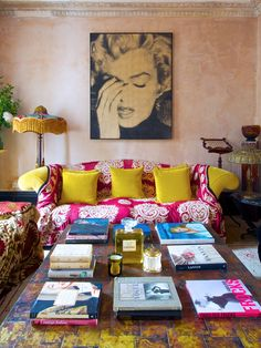 ⋴⍕ Boho Decor Bliss ⍕⋼ bright gypsy color & hippie bohemian mixed pattern home decorating ideas - brights with marilyn monroe wall art