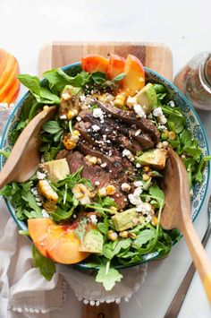 Give salad night a makeover with Grilled Steak and Peach Salad. This delicious meal packs in the flavor with goat cheese, avocado, and a mouth watering marinade! Gf Recipes, Dinner Recipes, Cooking Recipes, Healthy Recipes, Marinated Steak, How To Make Salad, Healthy Fats, No Cook Meals, Salads