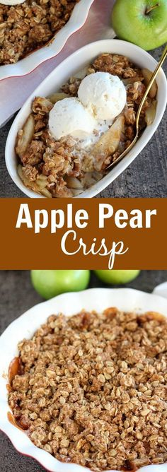 Apple Pear Crisp & Tender apples and pears baked with a brown sugar oat topping. Serve warm for the perfect fall or winter dessert The post Apple Pear Crisp & Tender apples and pears baked with a brown sugar oat topping& appeared first on Food Monster. Pear And Apple Crumble, Apple Pear Crisp, Apple Pear Pie, Berry Crumble, Mini Apple, Pear Dessert Recipes, Köstliche Desserts, Delicious Desserts, Desserts With Pears