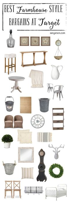 Farmhouse Decor Fixer Upper Decor Steals at a Bargain. All from @target from blogger at www.sengerson.com. Amazingly thorough roundup!