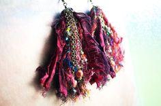 Maroon Sari Silk Earrings - Boho Gypsy Tribal Style, by GypsyInMyBlood at Etsy