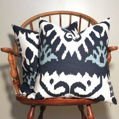 Quadrille Kazak in Navy Pair of 20 pillow covers by modernthread, $325.00