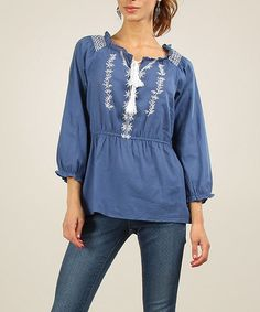 Anmol: Embroidered Boho Top - Navy  by Anmol on #zulilyUK today!