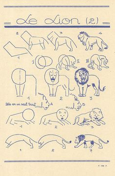 How to draw a lion (2) (les animaux 83 by pilllpat (agence eureka), via Flickr)