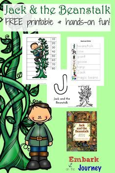 Jack and the Beanstalk: Read-aloud, FREE printable, and hands-on activities. Preschool Literacy, Free Preschool, Kindergarten, Preschool Ideas, Preschool Garden, Fairy Tale Activities, Homeschooling Resources, Fairy Tales Unit, School Supplies
