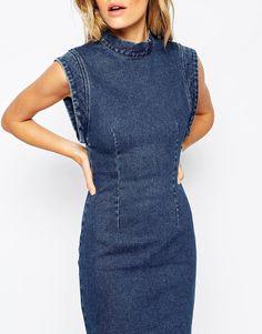 Image 3 ofRollas Denim Dress With Open Back Detail