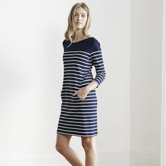 Breton Stripe Shift Dress - Navy/White  from The White Company