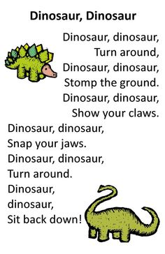 Itty Bitty Dino Dig Rhyme: Dinosaur, Dinosaur Need this for one of the birthday games! Dinosaurs Preschool, Preschool Songs, Preschool Classroom, Preschool Learning, Transition Songs For Preschool, Montessori Elementary, Dinosaur Activities For Preschool, Dinosaur Songs For Kids, Dinosaur Crafts Kids