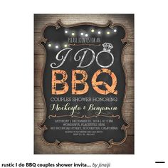 rustic I do BBQ couples shower invitation                                                                                                                                                                                 More