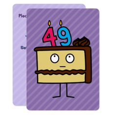 49th Birthday Cake with Candles Card