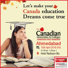 #CanamConsultants come to Ahmedabad with their exclusive #CanadaEducation_Workshop where you can get answers to all your doubts and queries relating to Canada Education. All that you need to do is register and get ready to realize your #OverseasEducation dreams with the #Best_Immigration_Consultancy!  For complete information & enrolment, Contact CANAM on - 1800-200-5499 or Register Here http://canadaedufair.com/register.php?city=Ahmedabad