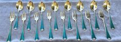 David Andersen Blue Green Enamel Sterling Flatware 8 Lunch Forks & 8 Tea spoons
