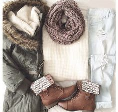 Absolutely love this outfit. Combat boots, light wash jeans, soft sweater, pretty scarf, and fluffy jacket.