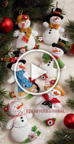 Bucilla Let It Snowman 6 Piece Felt Christmas Ornament Kit 86186 Frosty Lady & Garden Felt Snowman, Snowman Crafts, Christmas Projects, Felt Crafts, Holiday Crafts, Diy Crafts, Felt Christmas Decorations, Felt Christmas Ornaments, Christmas Fun