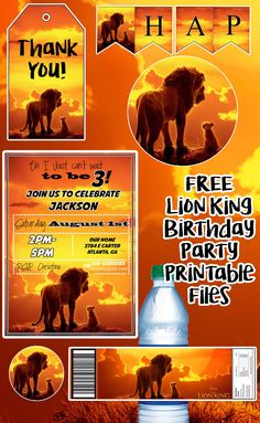 Lion King Poster, Lion King Theme, Lion King Party, Lion King Movie, Happy Birthday Banner Printable, Birthday Party Invitations Free, Lion King Cupcakes, Lion King Birthday, 3rd Birthday