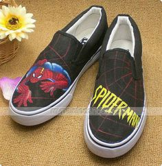 Low SpiderMan Black Sneaker SpiderMan Canvas Shoes,Low-top Painted Canvas Shoes