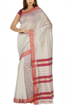 White Gray & Red Cotton Silk Maheshwari Saree