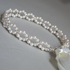 Bridal pearl crown Pearl tiara Bridal crown Wedding by DecorUA - Haarschmuck Bead Jewellery, Jewelery, Pearl Jewelry, Pearl Headpiece, Pearl Headband, Pearl Hair, Bohemian Headband, Ribbon Headbands, Ribbon Hair