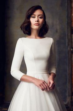 Wedding Dress Sleeves, Modest Wedding Dresses, Wedding Dress Styles, One Shoulder Wedding Dress, Dresses With Sleeves, Bridal Gowns, Wedding Gowns, Mikaella Bridal, Dress Vestidos