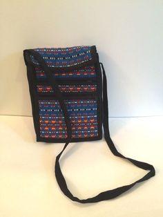 Messenger Bag, Cotton, Handmade, Peruvian, Patterned, Blue Red Black, Cross Body #Handmade #MessengerShoulderBag