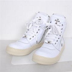 2908ac158622 Cheap Chrome Hearts Cross High top White Shoes
