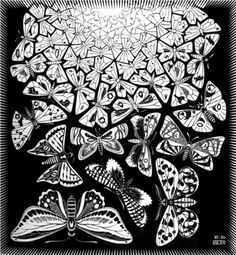 Butterflies - M.C. Escher: Op Art, black and white contrast lesson. could also use other examples of his work for perspective lessons